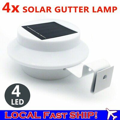 Solar Powered Gutter Fence LED Lights Outdoor Garden Wall Pathway Lamp White
