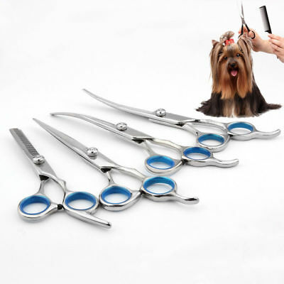 Professional Pets Dog Cat Grooming Scissors Cutting Thinning Curved Shears UK W