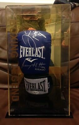 Floyd Mayweather Jnr Ricky Hatton dual signed boxing glove DISPLAY CASE RARE COA