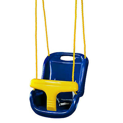 HIGH BACK INFANT SWING Wide Seat Belt Security Child Toddler Outdoor Play Blue