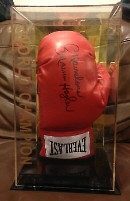 Marvelous Marvin Hagler Hand Signed Boxing Glove IN DISPLAY CASE RARE COA