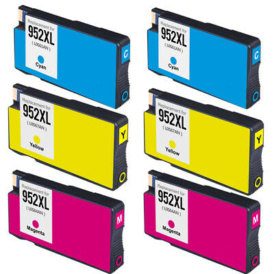 6 Color For HP 952XL 952 Ink Cartridge Officejet Pro 8710 8715 8716 8720 8725