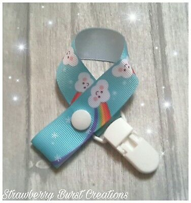 Dummy Clip Strap Handmade Rainbow Clouds Baby Shower Gift-MAM adapters available
