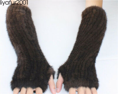 LIYAFUR Real Genuine Mink Fur Knitted Long Winter Fingerless Gloves Mittens