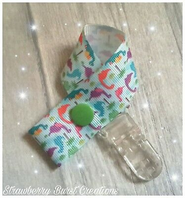 Dummy Clip Handmade Dinosaur Print - Baby Shower Gift MAM adapters available