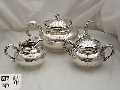 RARE CHINESE EXPORT HM 90 SILVER 3 PIECE TEA SET W Hing