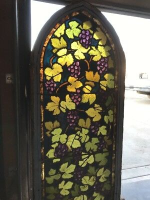 ArK3 Antique Arch Top Chunk Jewel Grape Window Painted And Fired 22.25x51