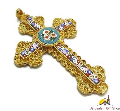 ITALIAN Rare Handmade Orthodox Gold Byzantine Cross With Spun Enamel Glass Art