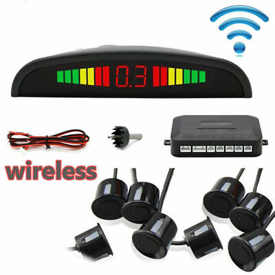 Kit 8 Sensori Di Parcheggio Con Mini Display Led Wireless Suono Fresa Neri