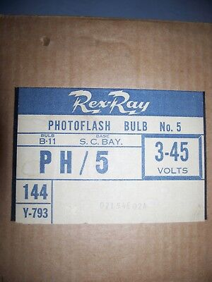 Rex-Ray Number 5 Clear Flashbulbs- One Full Sealed Case of 12 bulb packs- 144