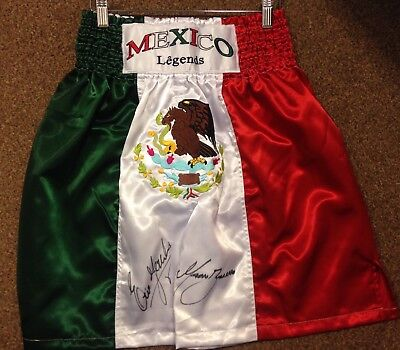 Marco Antonio Barrera Erik Morales Dual Hand Signed Fight Replica Shorts COA