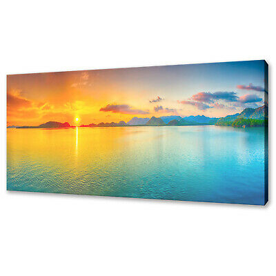 Sunset Seascape Panoramic Canvas Print Picture Wall Art Variety Of Sizes