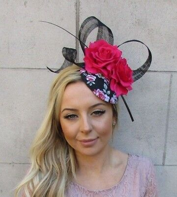 Black Hot Pink Rose Flower Feather Pillbox Hat Hair Fascinator Rockabilly 5542