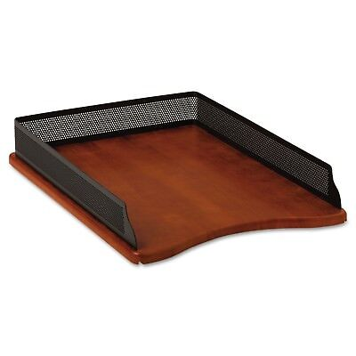 Rolodex Distinctions Self-Stacking Desk Tray, Metal/Wood, Black/Cherry (1813860)