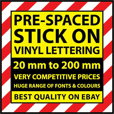 VINYL SIGNWRITING STICK ON LETTERS & NUMBERS ANY SIZE FROM 20 TO 200 mm HIGH