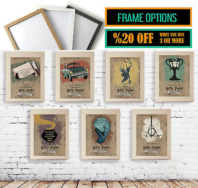 Harry Potter Posters Wall Art Quote Art Prints Gift Options *A3 A4 Size + Frames