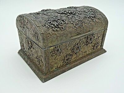 Vtg Antique Embossed Plated Metal Wood Lined Domed Japanese Jewellery Box Floral
