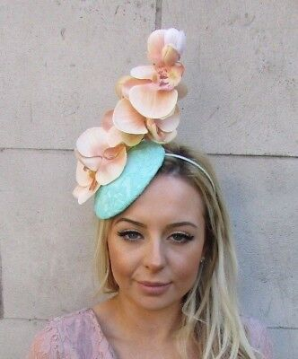 Mint Green Blush Peach Pink Orchid Flower Fascinator Races Ascot Hat Floral 5551