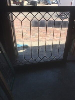 Sg 2188 Antique Leaded Glass Geometric Window 30.75 X 34.25