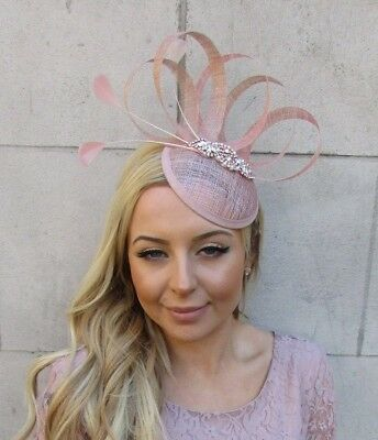 Nude Blush Pink Rose Gold Sinamay Feather Pillbox Hat Fascinator Wedding 5552