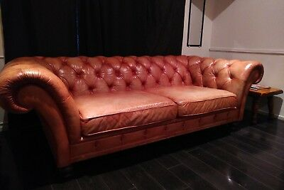 Antique Tufted Leather Sofa Couch Chesterfield Beige 100% leather real vintage