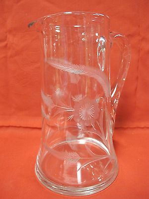 "ELEGANT CRYSTAL ETCHED FLOWERS/LEAVES  9"" TALL PITCHER w/APPLIED HANDLE"