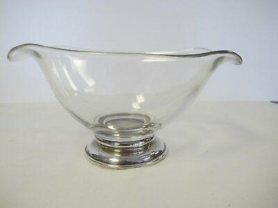 VINTAGE FRANK M. WHIITING HAND BLOWN CRYSTAL GRAVY BOAT w/STERLING SILVER BASE