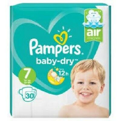 Pampers Baby Dry Nappies (Air Channels) Size 7 (15+kg 33+lbs) Pack of 30