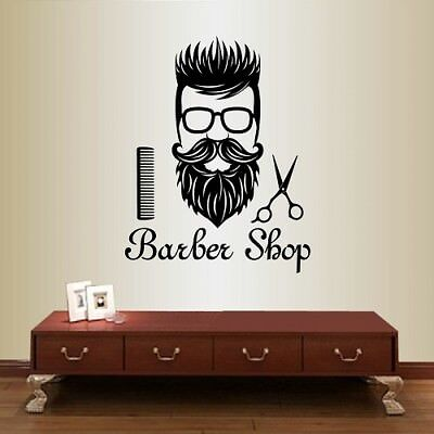 Vinyl Decal Barber Shop Man Hairdresser Hairstyle Haircut Beard Wall Sticker 163