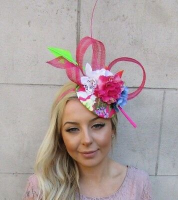 Hot Pink White Green Orchid Tropical Flower Feather Hat Hair Fascinator 5559