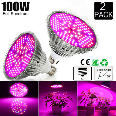 2Pcs E27 100W LED Grow Light Wachsen Licht Pflanzen Lampe Full Spectrum Bloom DE