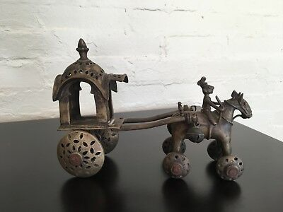 India Brass Temple Toy Horse & Rider and carriage on wheels.