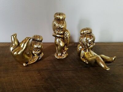 Vintage Gold Angel Cherub Figurines by Dickson Set of 3