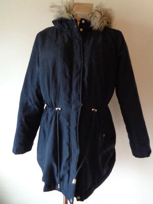New Look Maternity Navy Blue Quilted Hooded Parka Jacket Coat Size 16