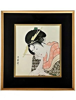 JAPANESE Woman Ukiyo-e Style High Quality Print Card Fine Colours Framed