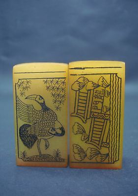 """A Pair of Chinese Old Hand Carving """"ShouShan"""" Stone Seals with Box"""