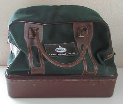 Vintage Green Luggage Duffle Duffel Travel Bag Leather Carry On Amoco  Chemical 9e6746a7e17f9