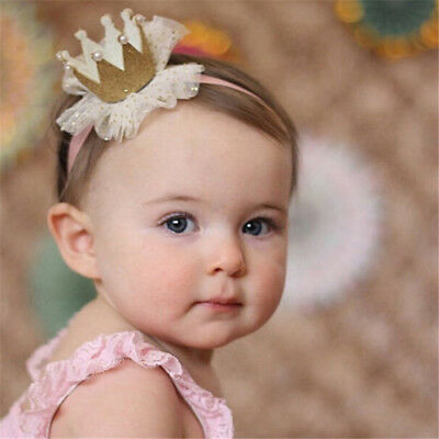 Baby Girl Shiny Princess Tiara Hair Band Headband Kids Elastic Crown Headwear JD