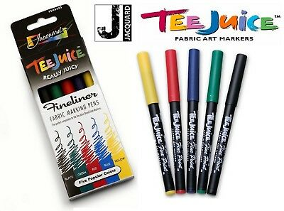 Jacquard TEE JUICE - Really Juicy Fabric Markers - Fineliners - Set of 5