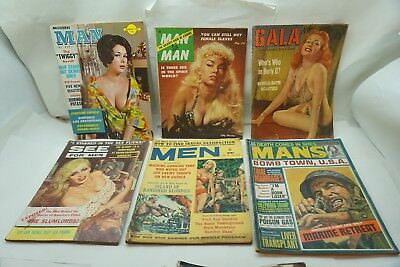 VINTAGE MAGAZINE LOT PULP STAG MODERN MAN 6 ISSUES 1950s-60s PINUPS ADVENTURE