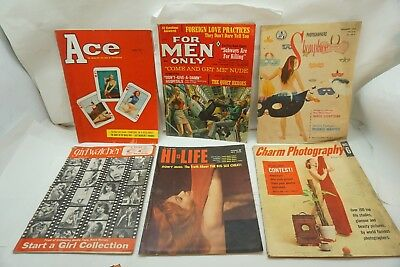 VINTAGE MAGAZINE LOT PULP STAG MAN ACE FOR MEN ONLY 6 ISSUES 50-60s PHOTOGRAPHY