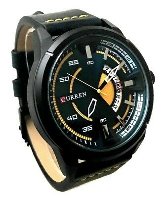 Men's Fashion Watch Curren M8298 Black Leather Band Mens Casual Watch with Date