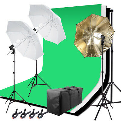 Photo Photography Umbrella Lighting Kit Studio Light Bulbs Screen Backdrop Stand