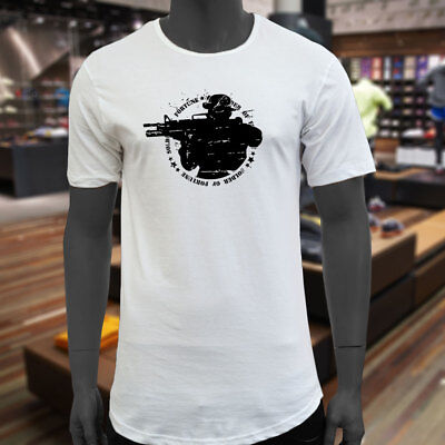 53d53b0fa422 SOLDIER OF FORTUNE ARMY GUN ARMED FORCES MILITARY Men White Extended Long  TShirt