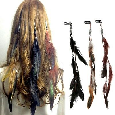 Cute Bohemian Women Girls Real Feather Clips in on Hair Extensions Fashion