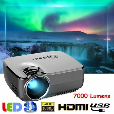 7000 Lumens 1080P 3D Mini Projector Home Theater LED Multimedia HDMI VGA USB RGB