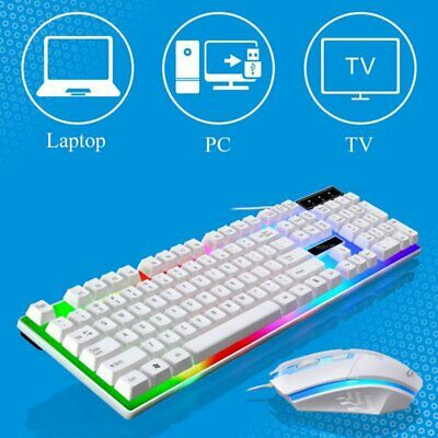 Gaming Keyboard and Mouse Set LED Multi-Colored Changing Backlight Mouse AU