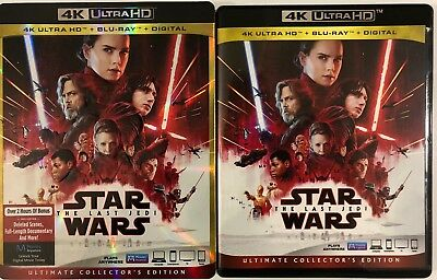 Disney Star Wars The Last Jedi 4K Ultra Hd Blu Ray 3 Disc Set + Slipcover Sleeve