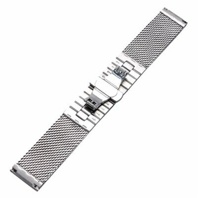 20/22mm Milanese Mesh Web+Strip Silver/Black Stainless Steel Watch Band Strap