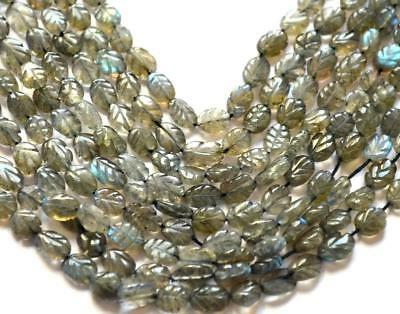 """14""""natural  Labradorite  Carved Oval Beads 6X7-6X9 Mm Gemst1One 1 Line #72-2"""